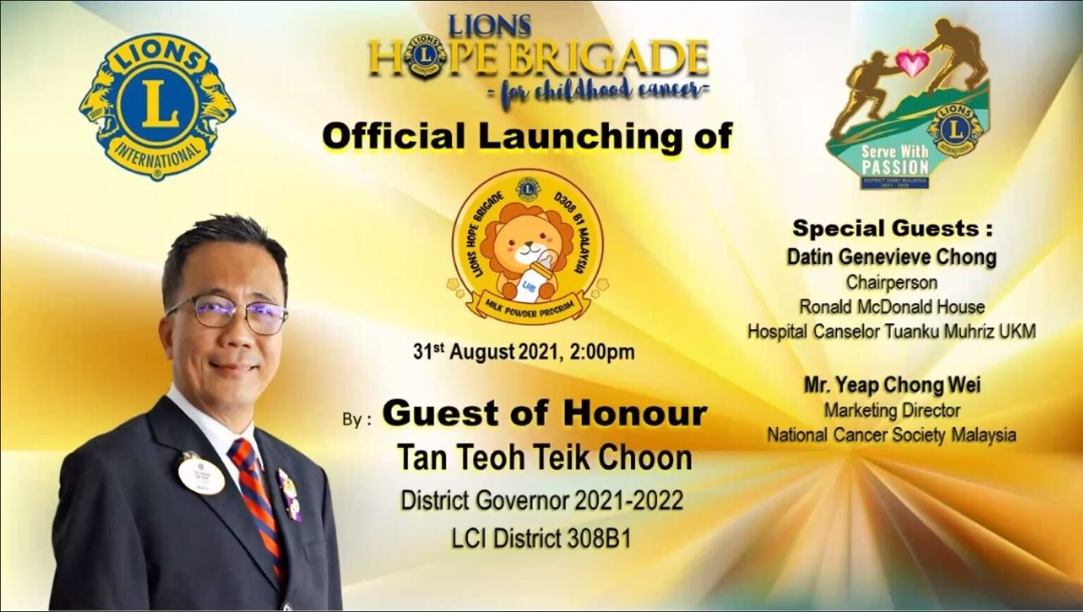 Official Launching of LHB Milk Powder Program by District Governor Tan Teoh Teik Choon on 31st August 2021